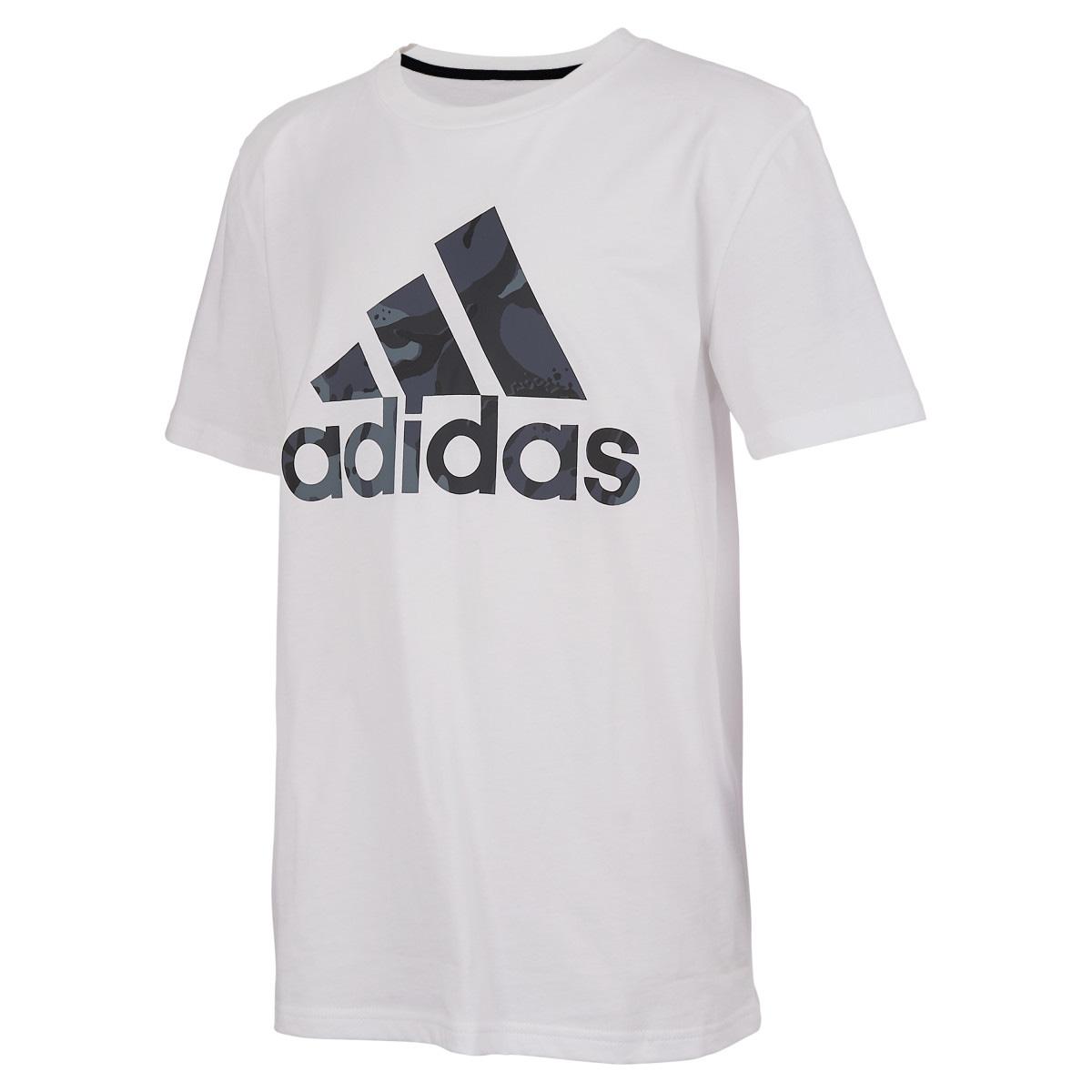 Boys' Short Sleeve Classic Camo Badge Of Sport Tee, White, swatch