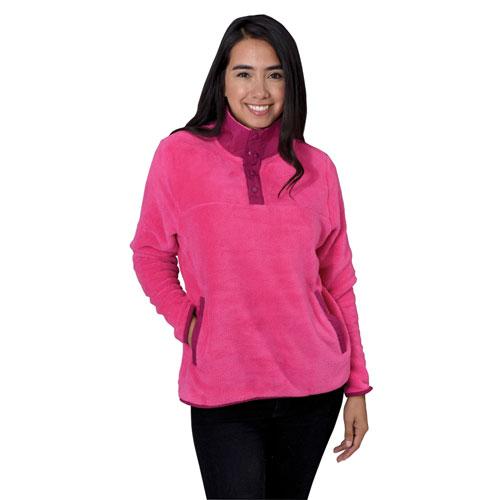 Women's Teddy Bear Mock Neck Snap Jacket, Pink, swatch