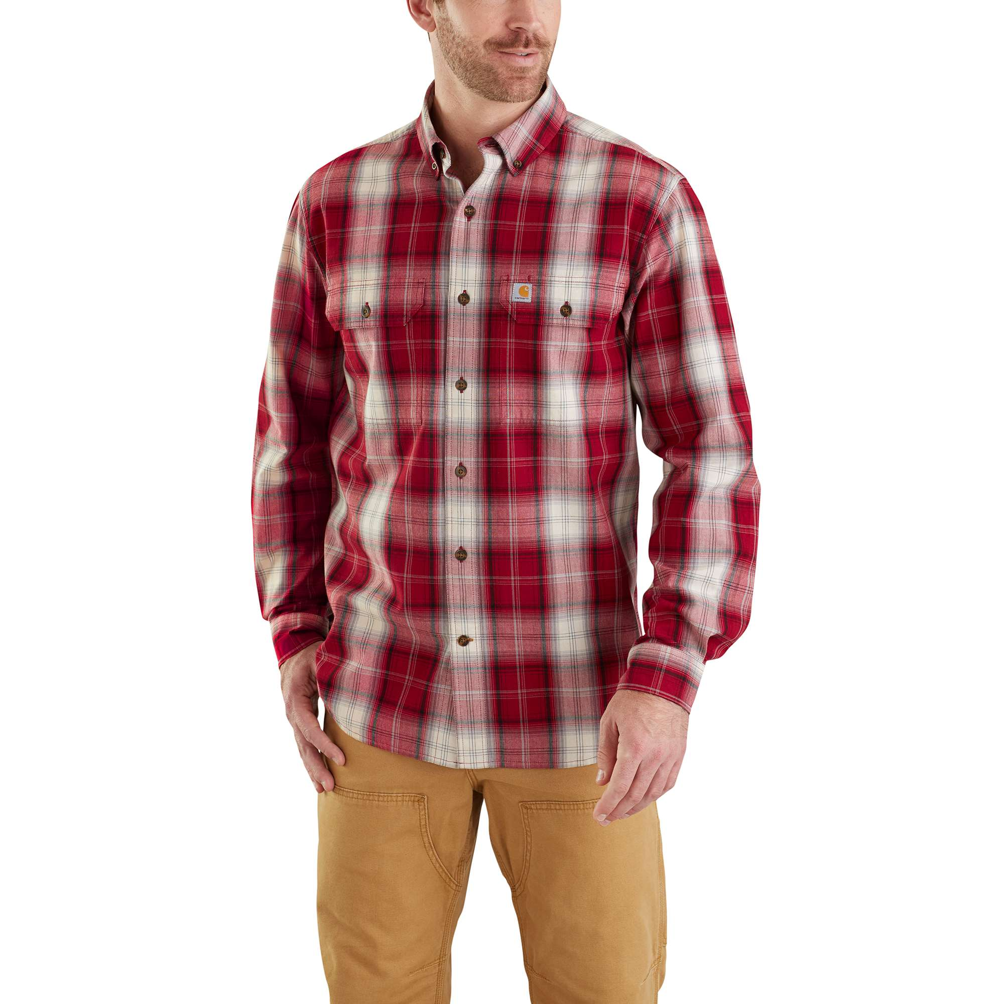 Men's Fort Plaid Long Sleeve Shirt, Crimson, swatch
