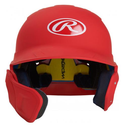 Junior MACH Matte Left-handed Batting Helmet, Red, swatch