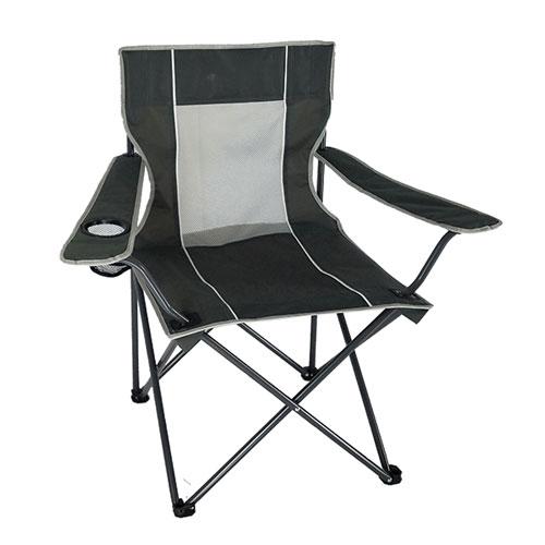 Mesh Folding Chair, Charcoal,Smoke,Steel, swatch