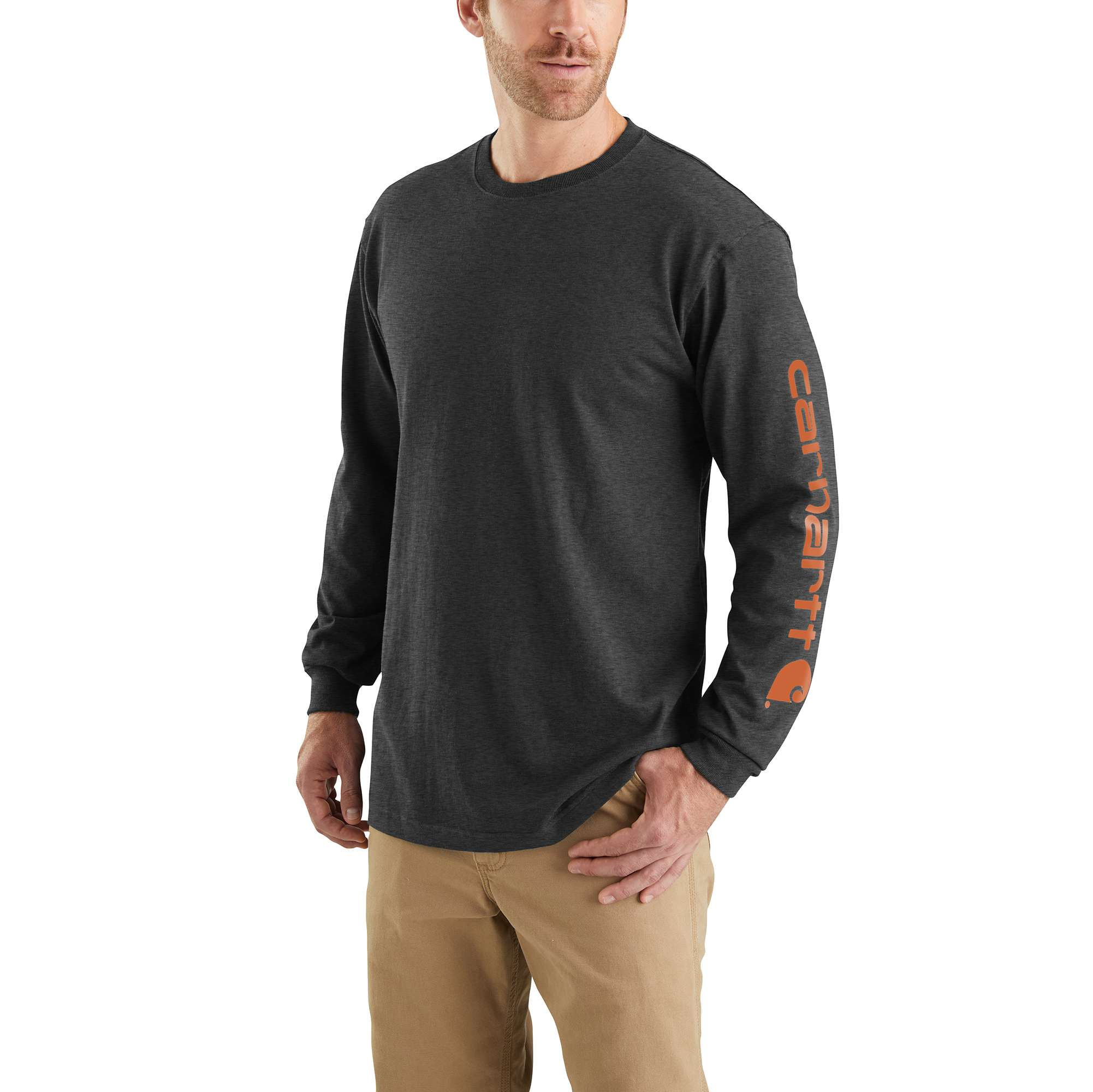 Men's Workwear Long-sleeve Graphic Logo T-shirt, Gray, swatch