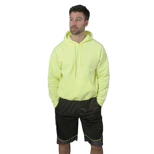 Men's Long Sleeve Fleece Pullover Hoodie, Florescent Green, swatch