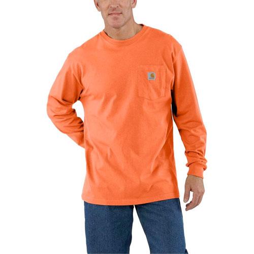 Men's Workwear Long Sleeve Pocket T-Shirt, Orange, swatch
