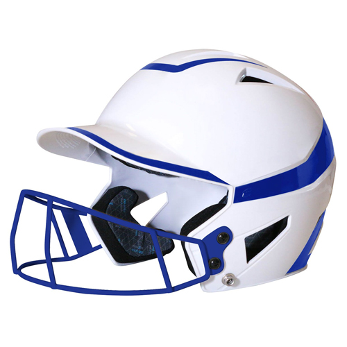 Senior 2-Tone Fast Pitch Helmet with mask, White/Royal, swatch