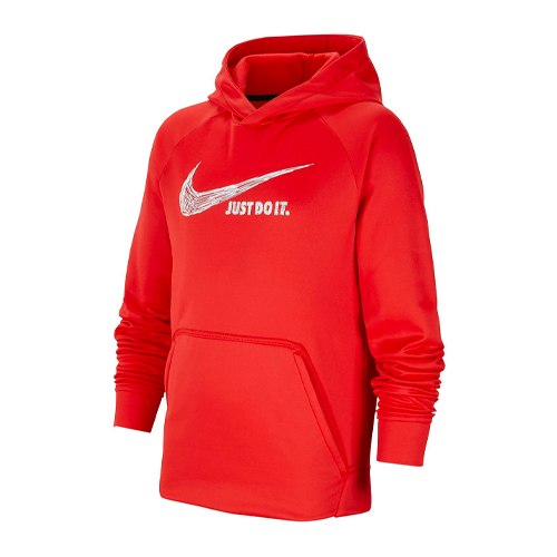 Boys' Graphic Pullover Hoodie, Red, swatch