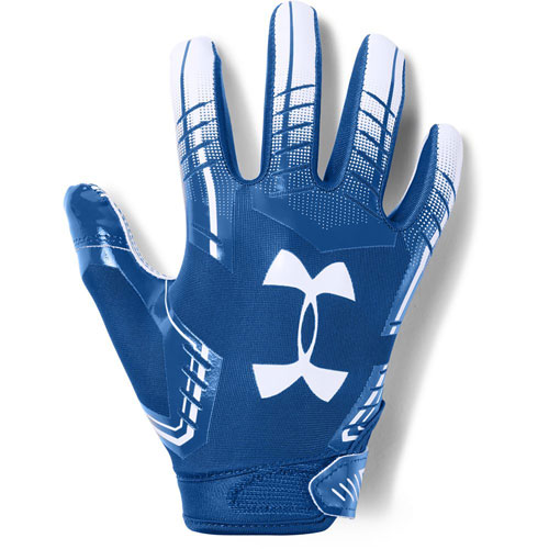 Adult F6 Football Gloves, White/Royal, swatch