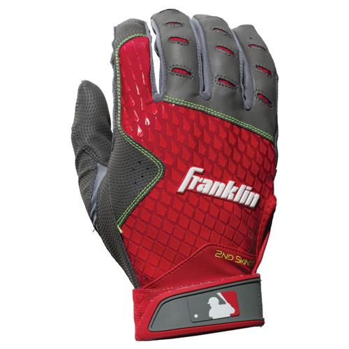 Men's MLB 2nd Skinz Batting Gloves, Gray/Red, swatch