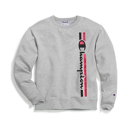 Men's Powerblend Fleece Crew, Heather Gray, swatch