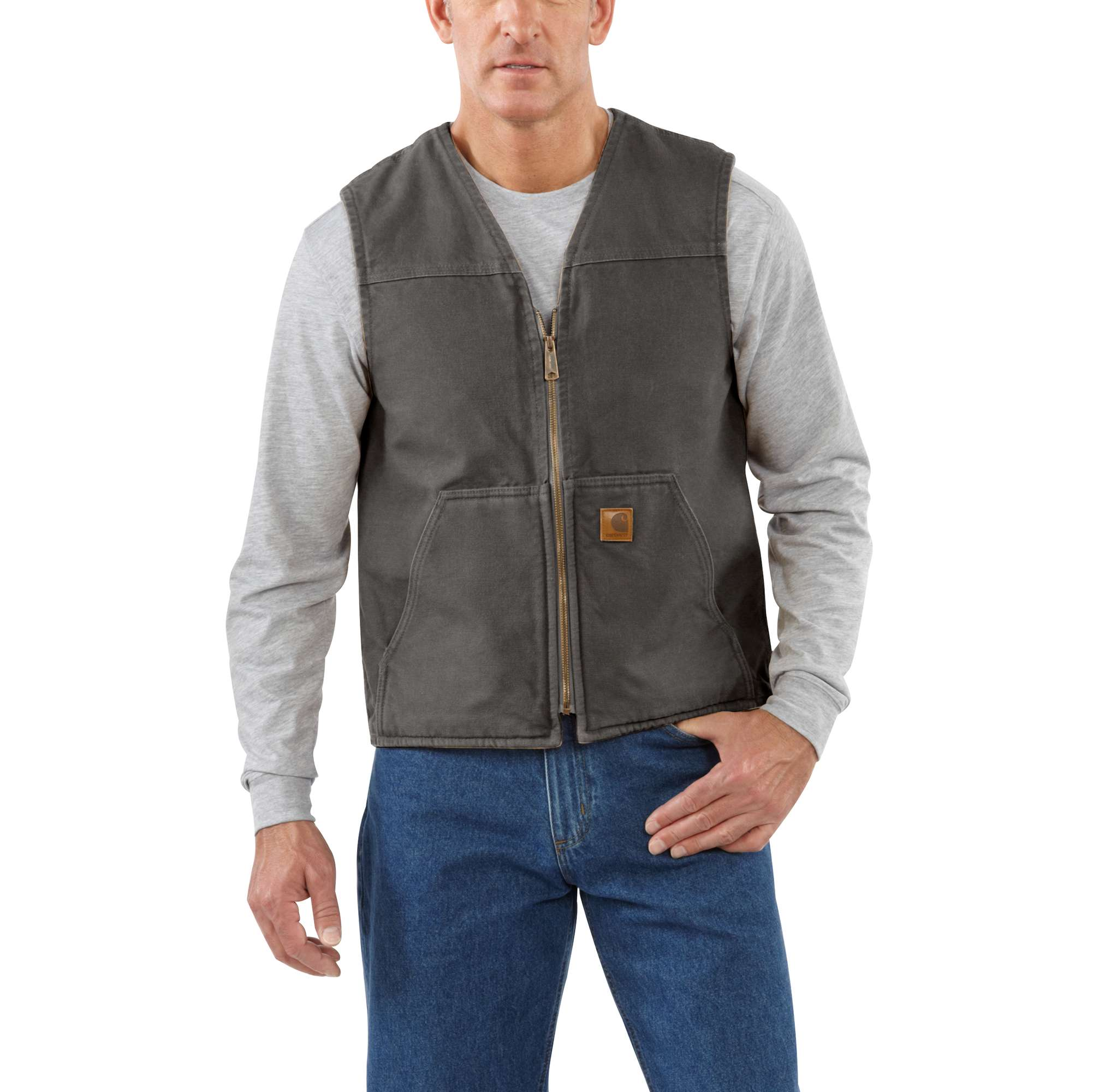 Men's Sandstone Rugged Sherpa Lined Vest, Brown, swatch