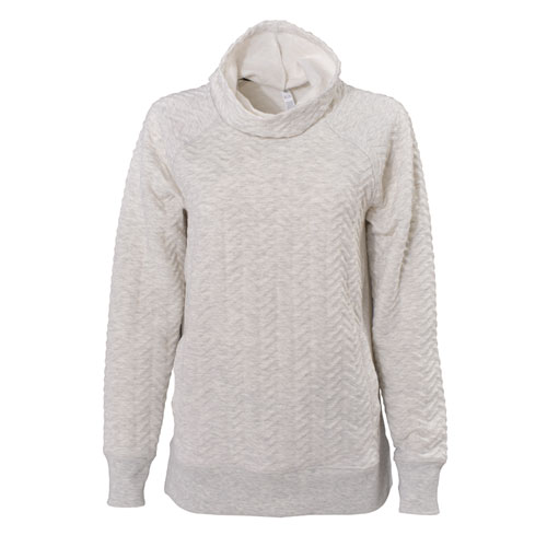 Women's Prime Quilted Cowl Neck Pullover Sweatshirt, Cream,Natural,Eggshell, swatch