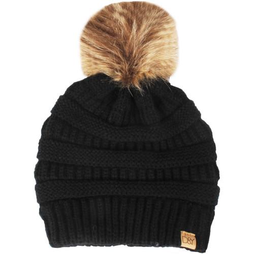 Women's Knit Beanie With Fur Pom, Black, swatch