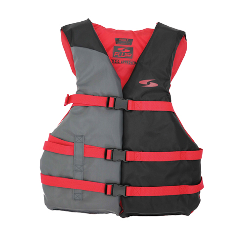 3 Buckle Vest, Red/Grey, swatch