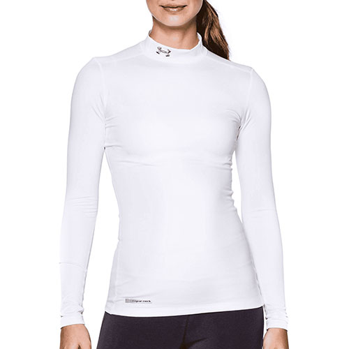 Women's ColdGear Fitted Mock, White, swatch