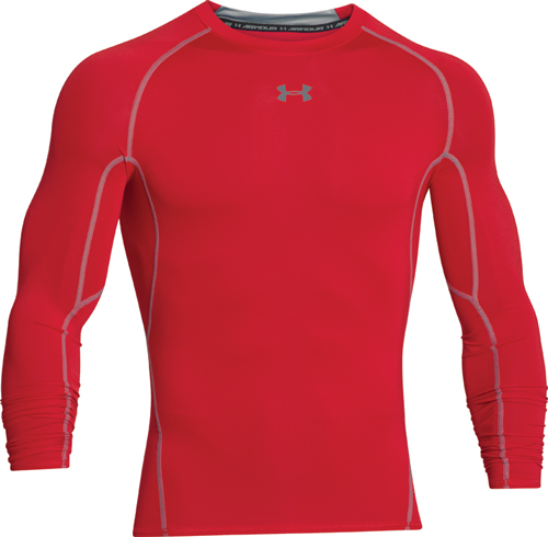 Men's HeatGear Armour Compression Long Sleeve Tee, Red, swatch