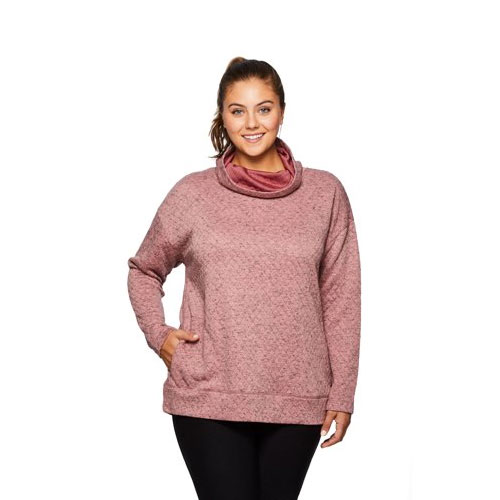 Women's Plus Sized Faux Fur Lined Cowl Neck Pullover, Pastel Pink,Theatrical, swatch