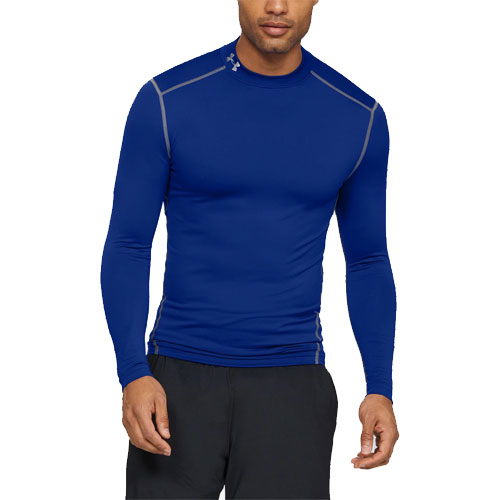 Men's ColdGear EVO Fitted Mock Long Sleeve Shirt, Royal Bl,Sapphire,Marine, swatch