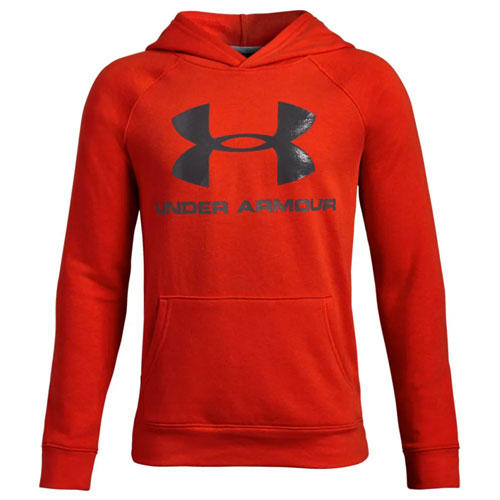 Boy's Rival Logo Hoodie, Red, swatch