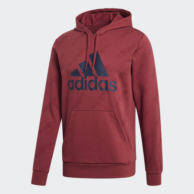 Men's French Terry Hoodie, Red, swatch
