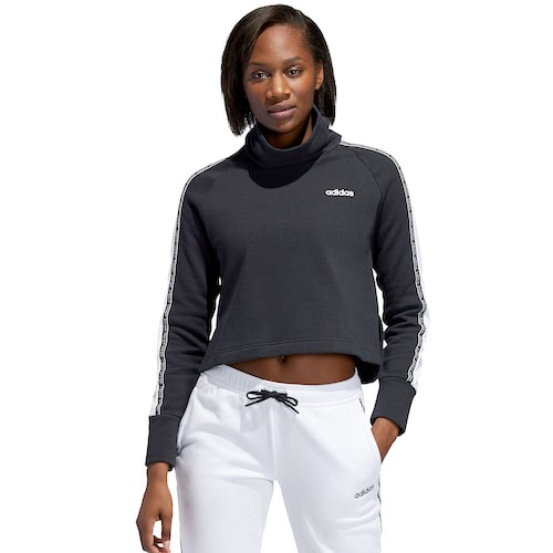 Women's Funnel Neck Fleece Sweatshirt, Black/White, swatch