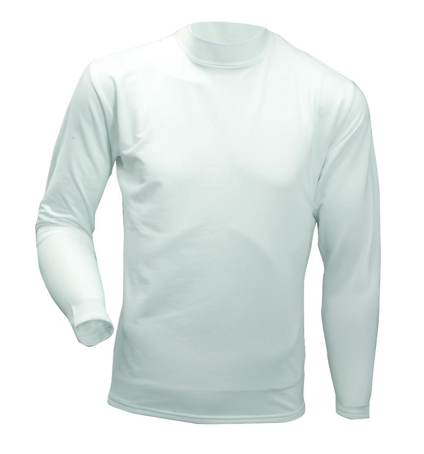 Men's Long Sleeve Cold Weather Mockneck Shirt, White, swatch