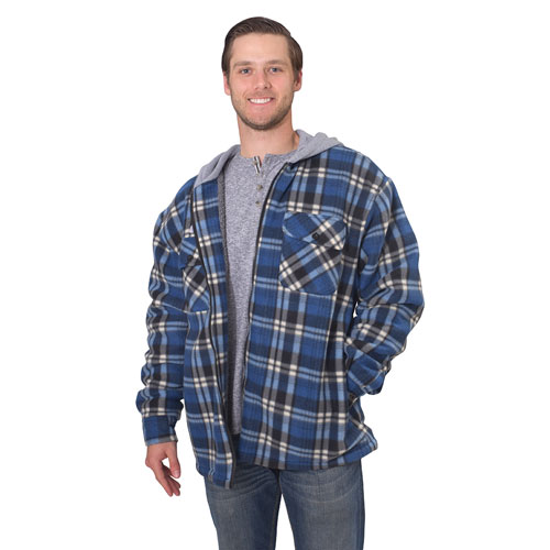 Men's Sherpa Lined Fleece Jacket with Hood Black *Med*, Blue, swatch