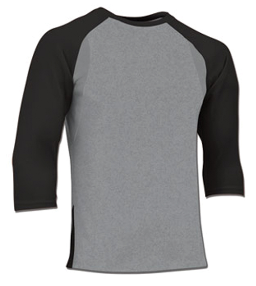 Adult Extra Innings 3/4 Sleeve Shirt, Gray/Black, swatch