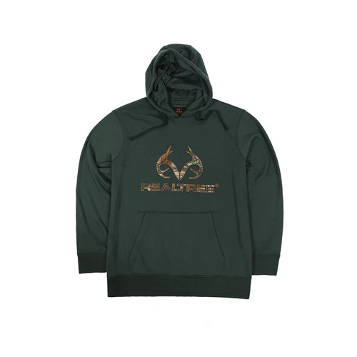 Men's Realtree Logo Hoodie, Dkgreen,Moss,Olive,Forest, large