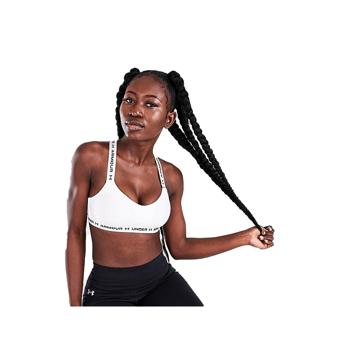Women's Crossback Low Bra, White, swatch