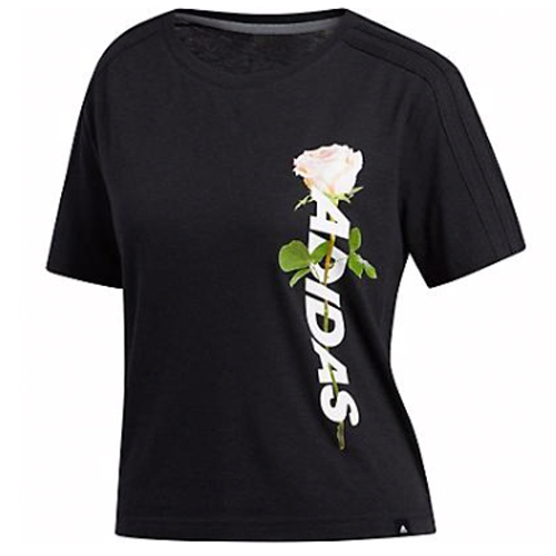 Women's Floral Crop Tee, Black, swatch