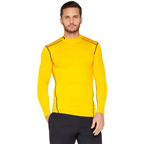 Men's ColdGear EVO Fitted Mock Long Sleeve Shirt, Gold, Yellow, swatch