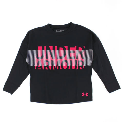 Girls' Overlay Long Sleeve T_Shirt, Black, swatch