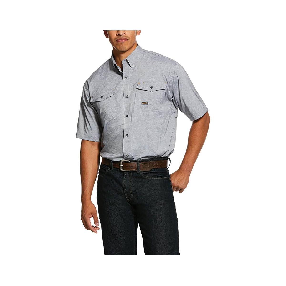 Men's Rebar Made Tough VentTEK Blue Stretch Work Shirt, Charcoal,Smoke,Steel, swatch