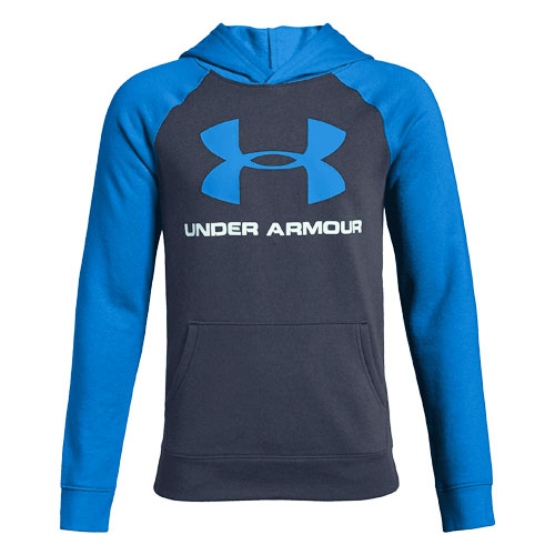 Boy's Rival Logo Hoodie, Blue, swatch
