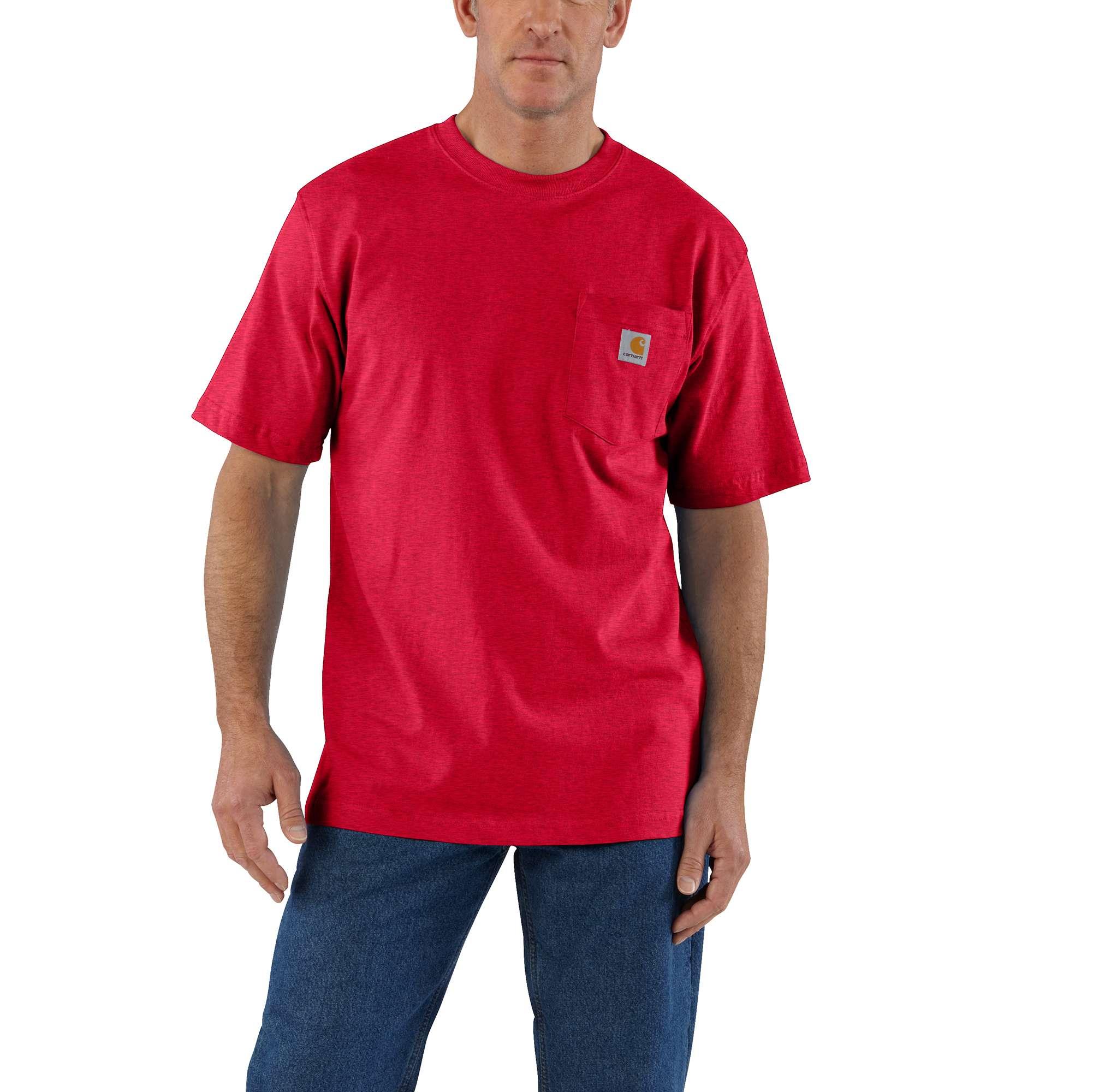 Men's Workwear Pocket Tee, Red/Grey, swatch