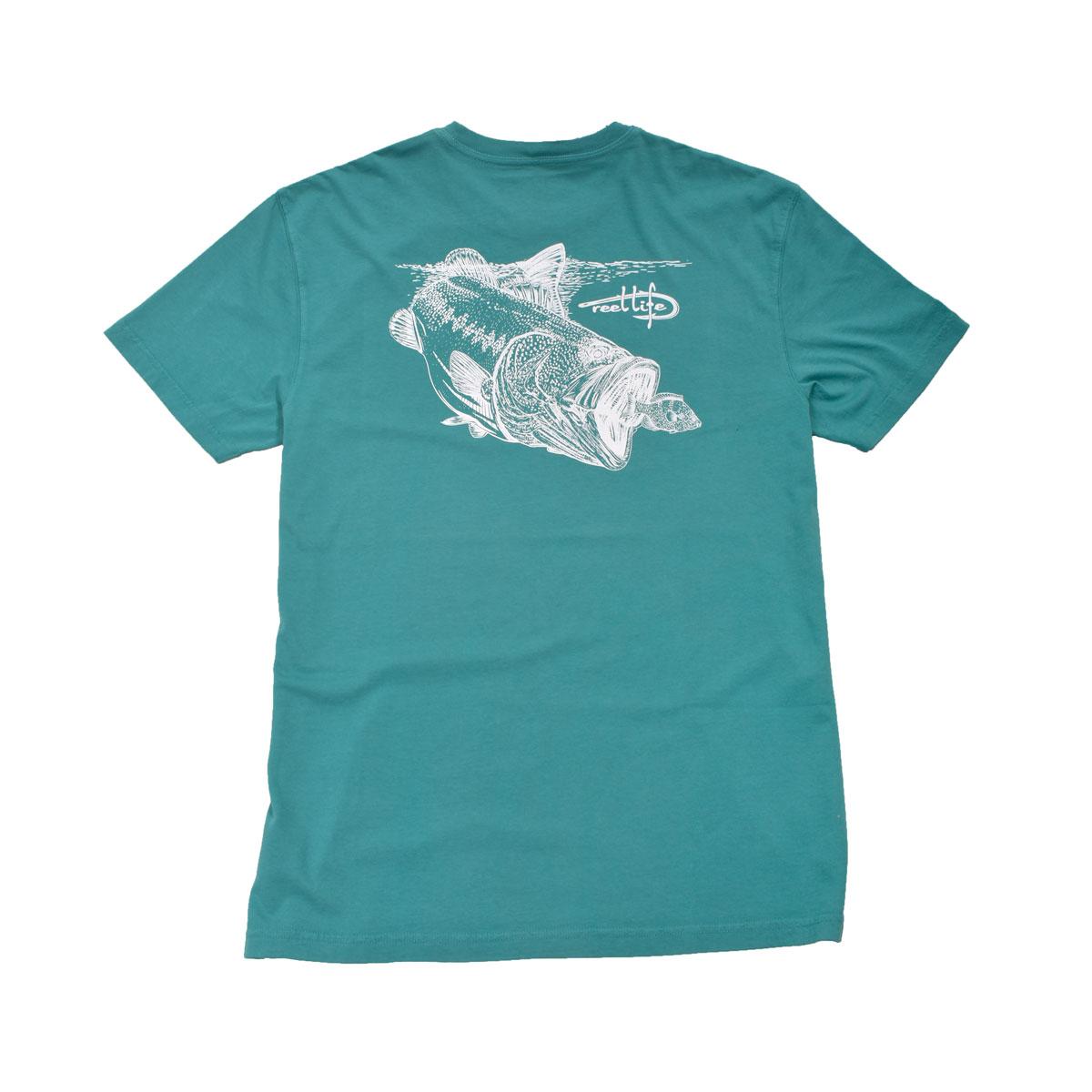 Men's Short Sleeve Bass Outline Tee, Green Blue, Teal, swatch
