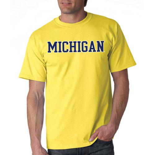 Michigan Straight Block T-Shirt, Dark Yellow, Brass, swatch
