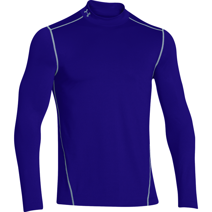 Men's ColdGear EVO Fitted Mock Long Sleeve Shirt, Purple, swatch