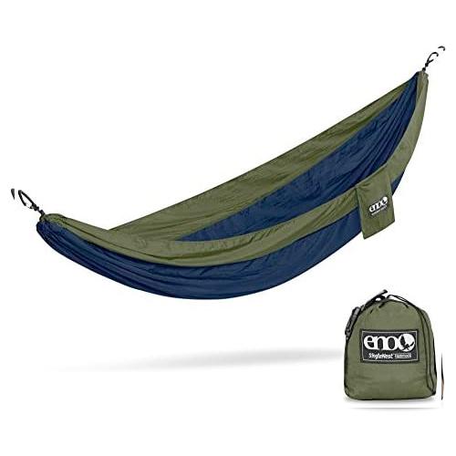 SingleNest Lightweight Camping Hammock, Navy/Green, swatch