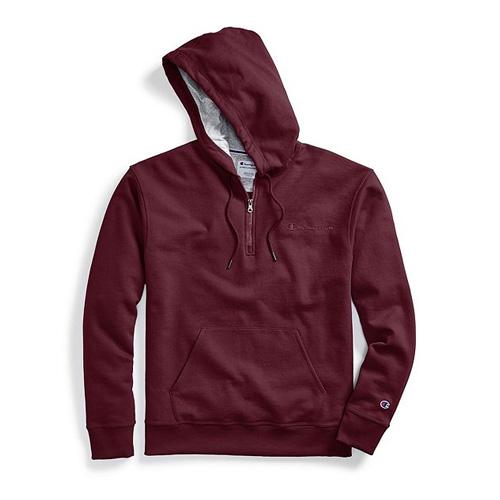 Men's Powerblend Embroidered Logo Fleece Quarter Zip Hoodie, Dk Red,Wine,Ruby,Burgandy, swatch