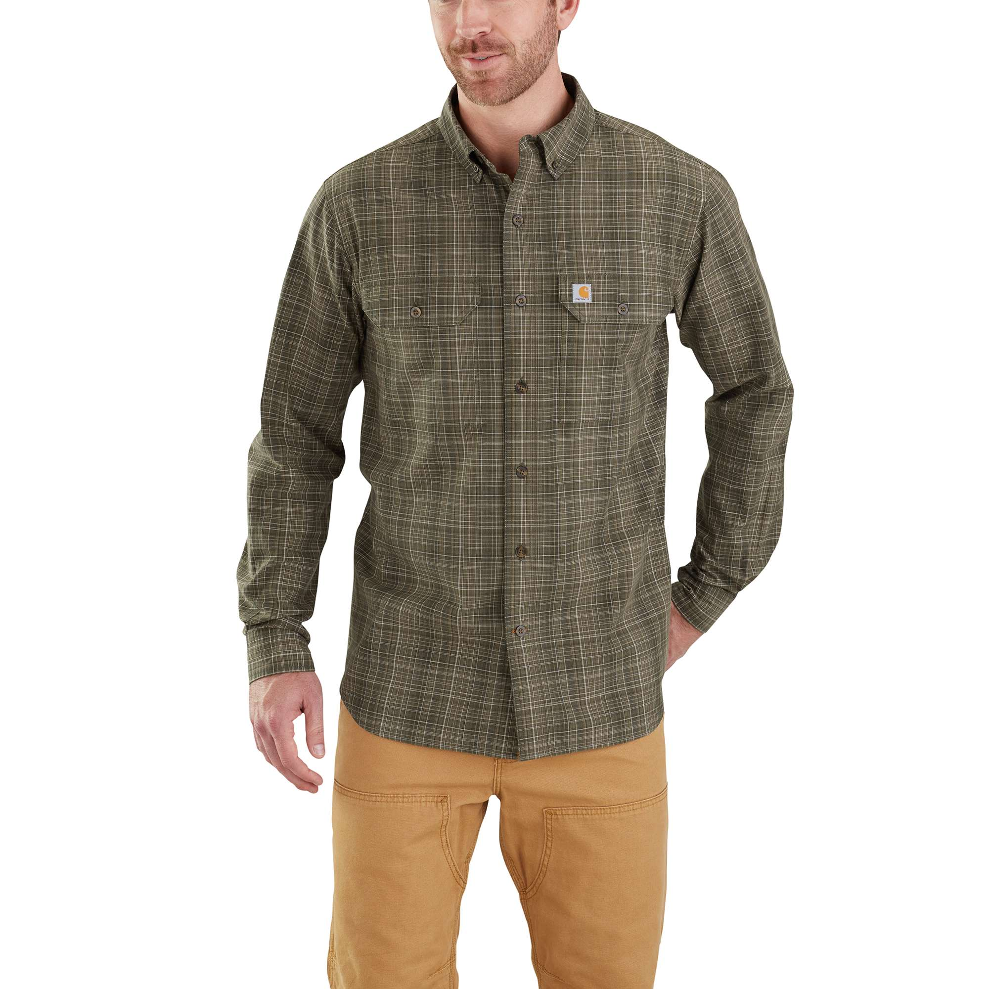 Men's Fort Plaid Long Sleeve Shirt, Dkgreen,Moss,Olive,Forest, swatch