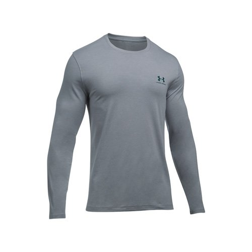 Men's Long Sleeve Left Chest Logo T-Shirt, Heather Gray, swatch