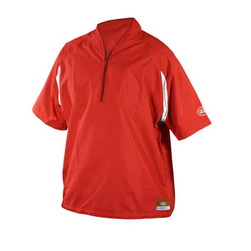 Adult Batting Cage Pull Over Jacket, Red, swatch