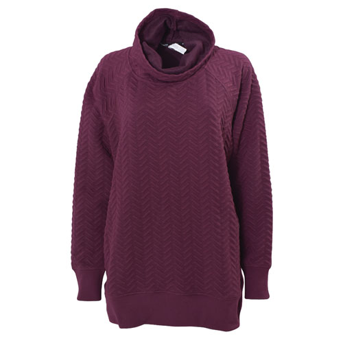 Women's Plus Sized Jacquard Cowl Neck Sweatshirt, Dk Red,Wine,Ruby,Burgandy, swatch