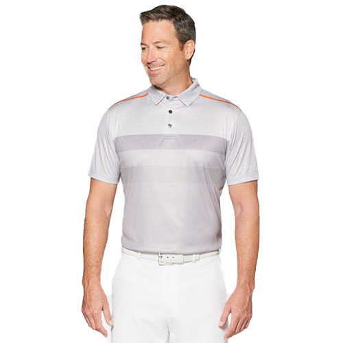 Men's Faded Print Golf Polo, Gray, swatch