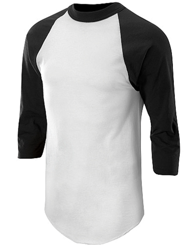 Adult 3/4 Sleeve Baseball Shirt, White/Black, swatch