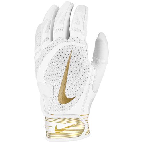 Men's Hurache Edge Batting Gloves, White/Gold, swatch