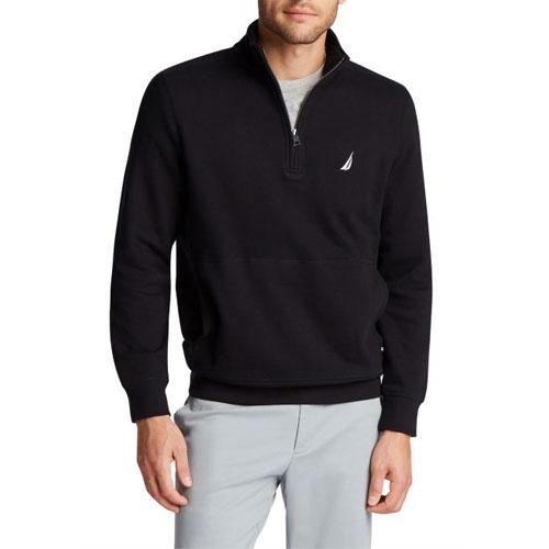 Men's 1/4 Zip Fleece, Black, swatch