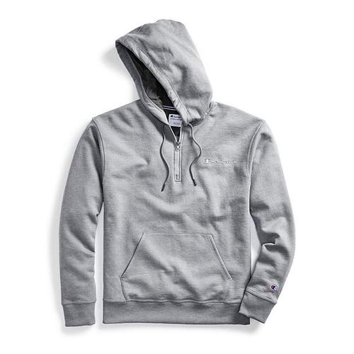 Men's Powerblend Embroidered Logo Fleece Quarter Zip Hoodie, Heather Gray, swatch