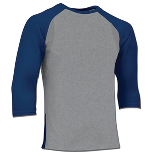 Adult Extra Innings 3/4 Sleeve Shirt, Gray/Royal, swatch
